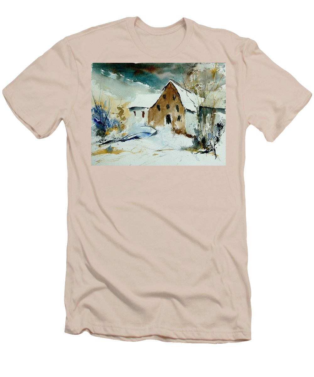 Winter Men's T-Shirt (Athletic Fit) featuring the painting Watercolor 9696 by Pol Ledent