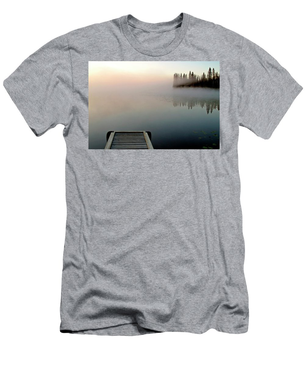 Mist Men's T-Shirt (Athletic Fit) featuring the digital art Morning Mist Over Lynx Lake In Northern Saskatchewan by Mark Duffy