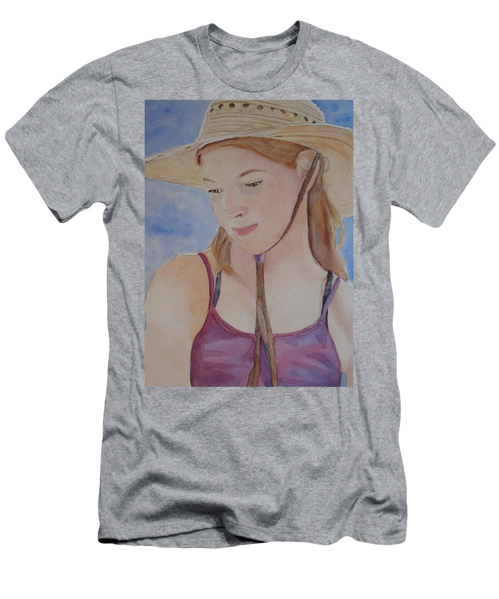 Girl Men's T-Shirt (Athletic Fit) featuring the painting Hat And Shoulders by Jenny Armitage