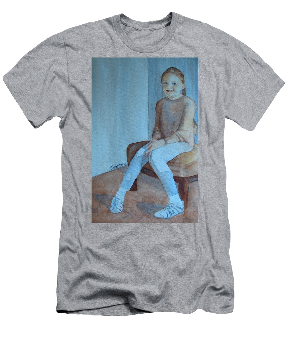 Girl Men's T-Shirt (Athletic Fit) featuring the painting Sneakers II by Jenny Armitage