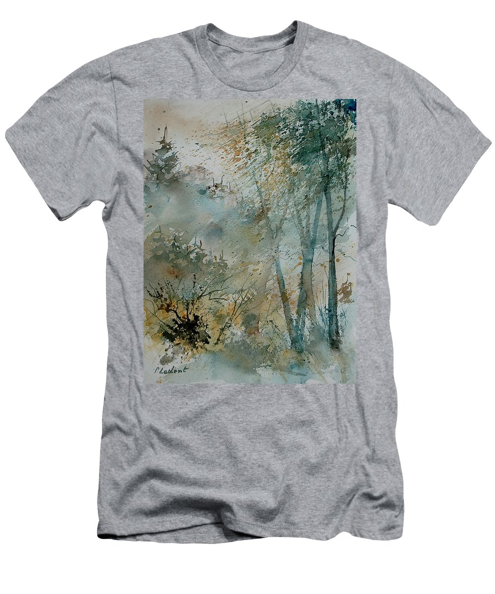 Tree Men's T-Shirt (Athletic Fit) featuring the painting Watercolor 051008 by Pol Ledent