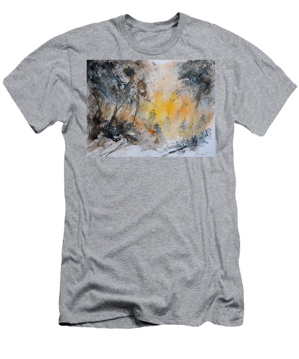 Tree Men's T-Shirt (Athletic Fit) featuring the painting Watercolor 131206 by Pol Ledent