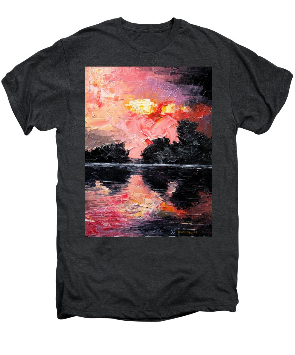 Lake After Storm Men's Premium T-Shirt featuring the painting Sunset. After Storm. by Sergey Bezhinets