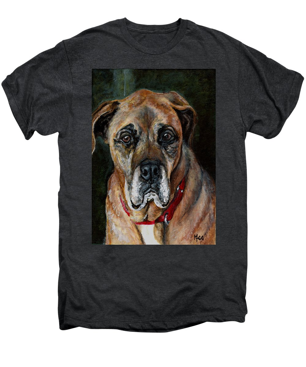 Boxer Men's Premium T-Shirt featuring the painting Boo For Dogtown by Mary-Lee Sanders