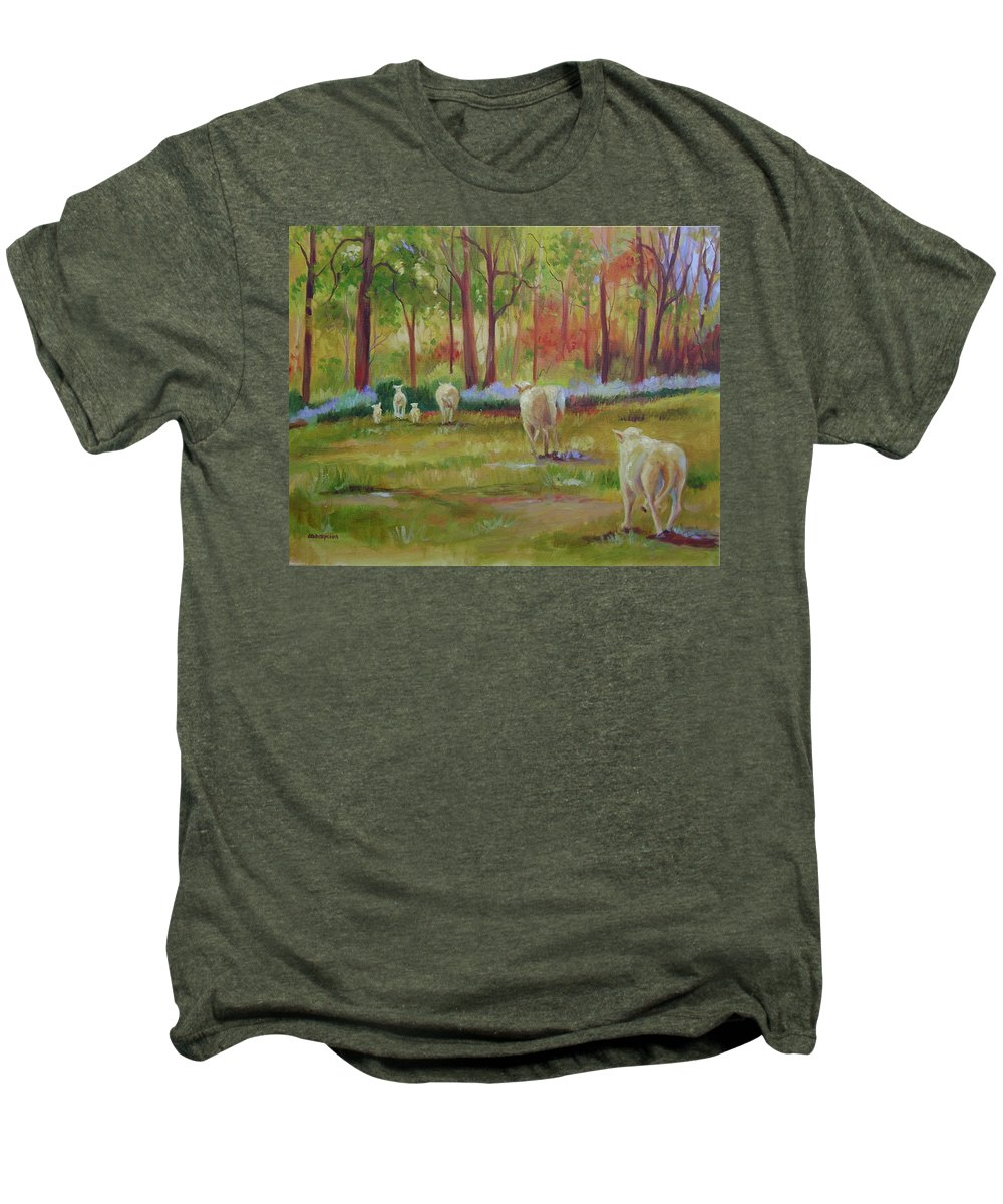 Sheep Men's Premium T-Shirt featuring the painting Sheeple by Ginger Concepcion