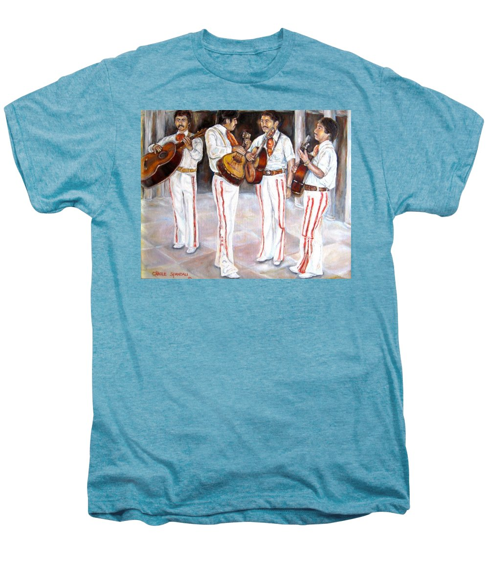 Mariachis Men's Premium T-Shirt featuring the painting Mariachi Musicians by Carole Spandau