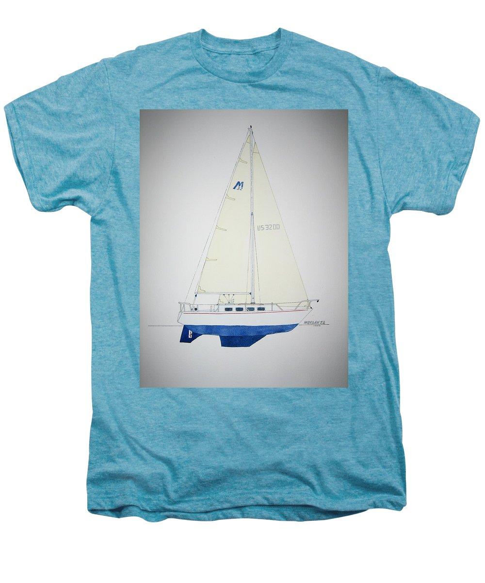 Sail Sailboat Ocean Sea Morgan Boat Nautical Yacht Men's Premium T-Shirt featuring the painting Morgan 32 by Jeff Lucas