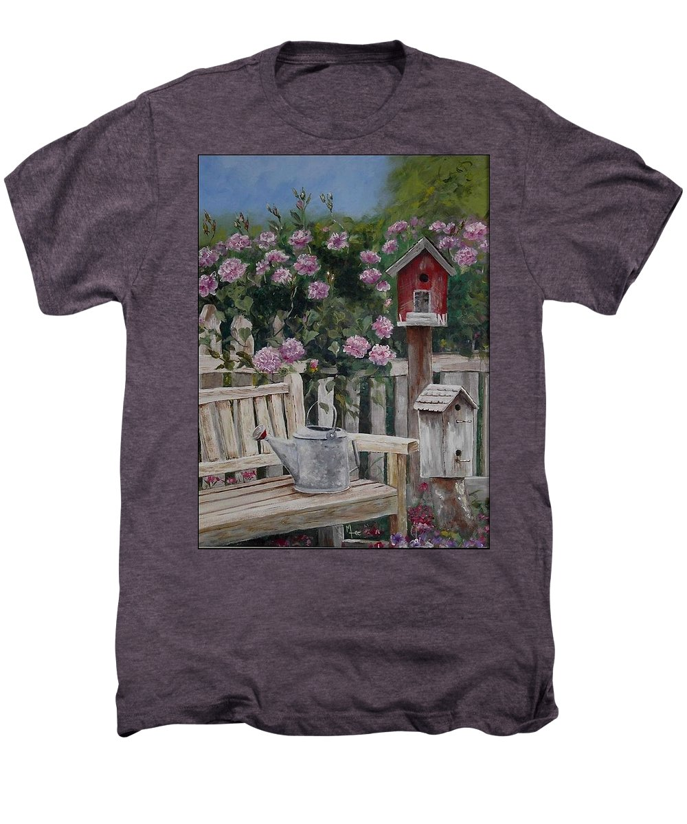 Charity Men's Premium T-Shirt featuring the painting Take A Seat by Mary-Lee Sanders