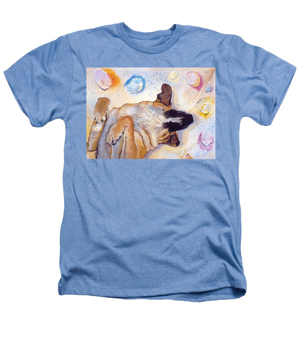 Sleeping Dog Heathers T-Shirt featuring the painting Dog Dreams by Pat Saunders-White