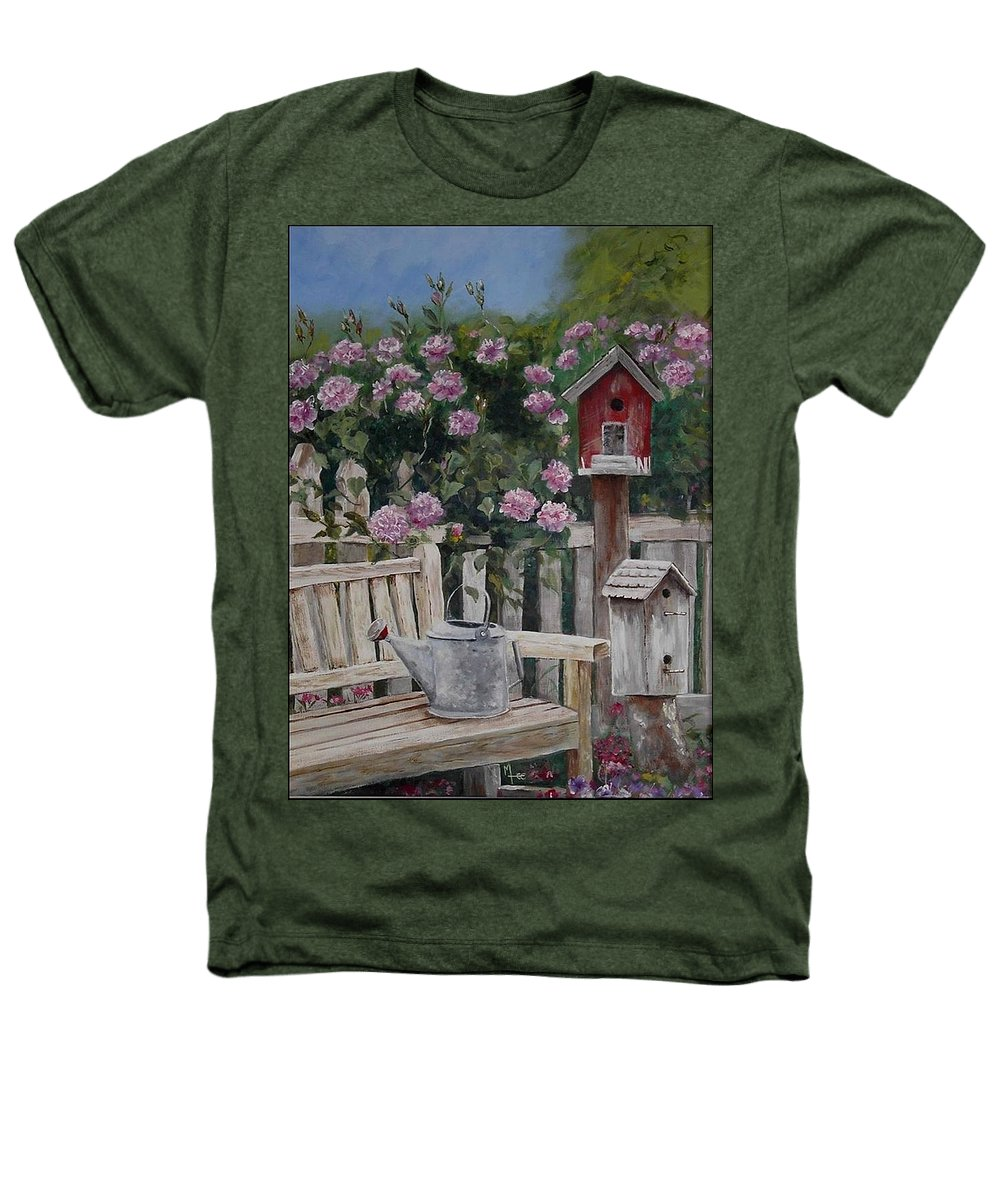 Charity Heathers T-Shirt featuring the painting Take A Seat by Mary-Lee Sanders