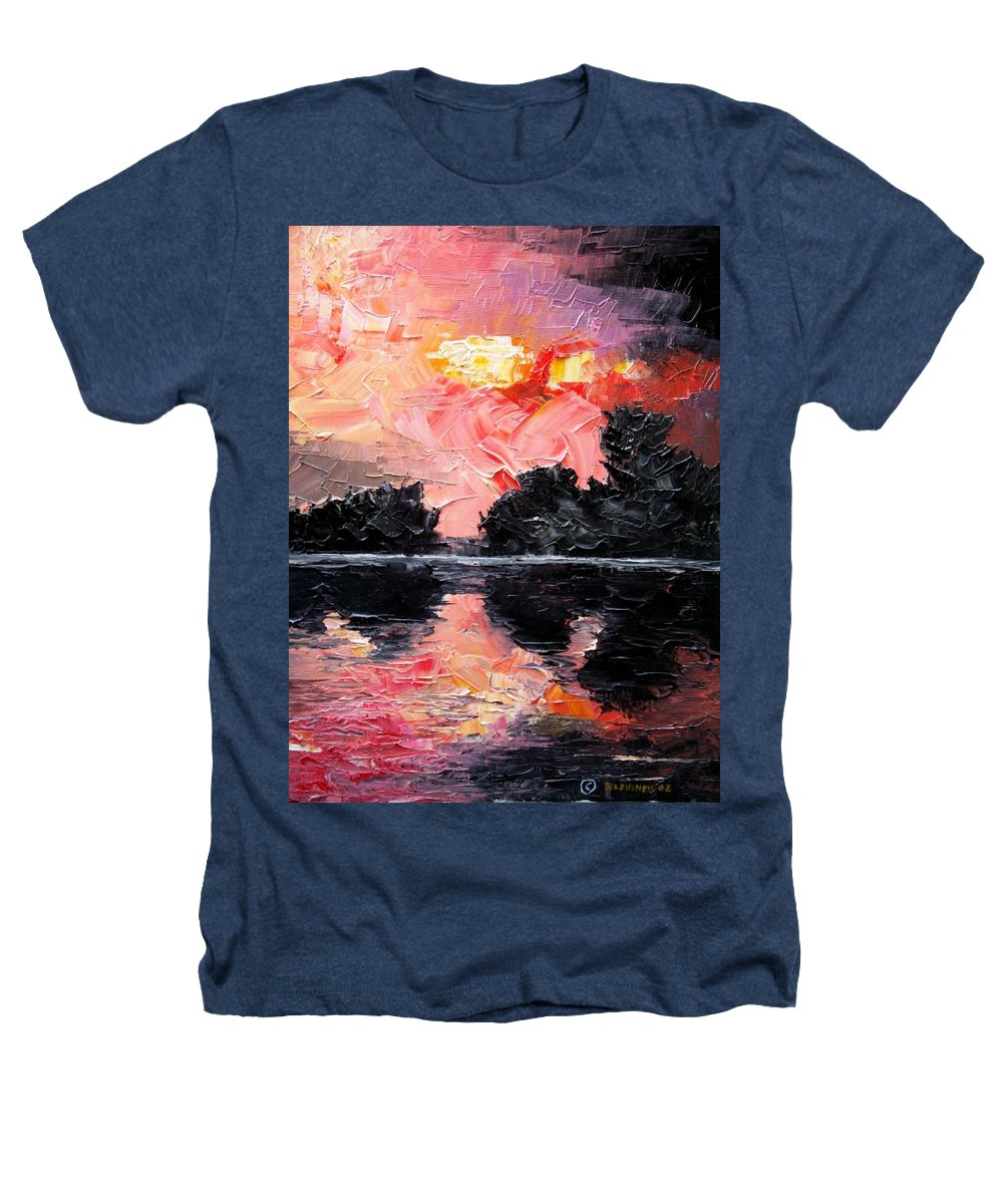 Lake After Storm Heathers T-Shirt featuring the painting Sunset. After Storm. by Sergey Bezhinets