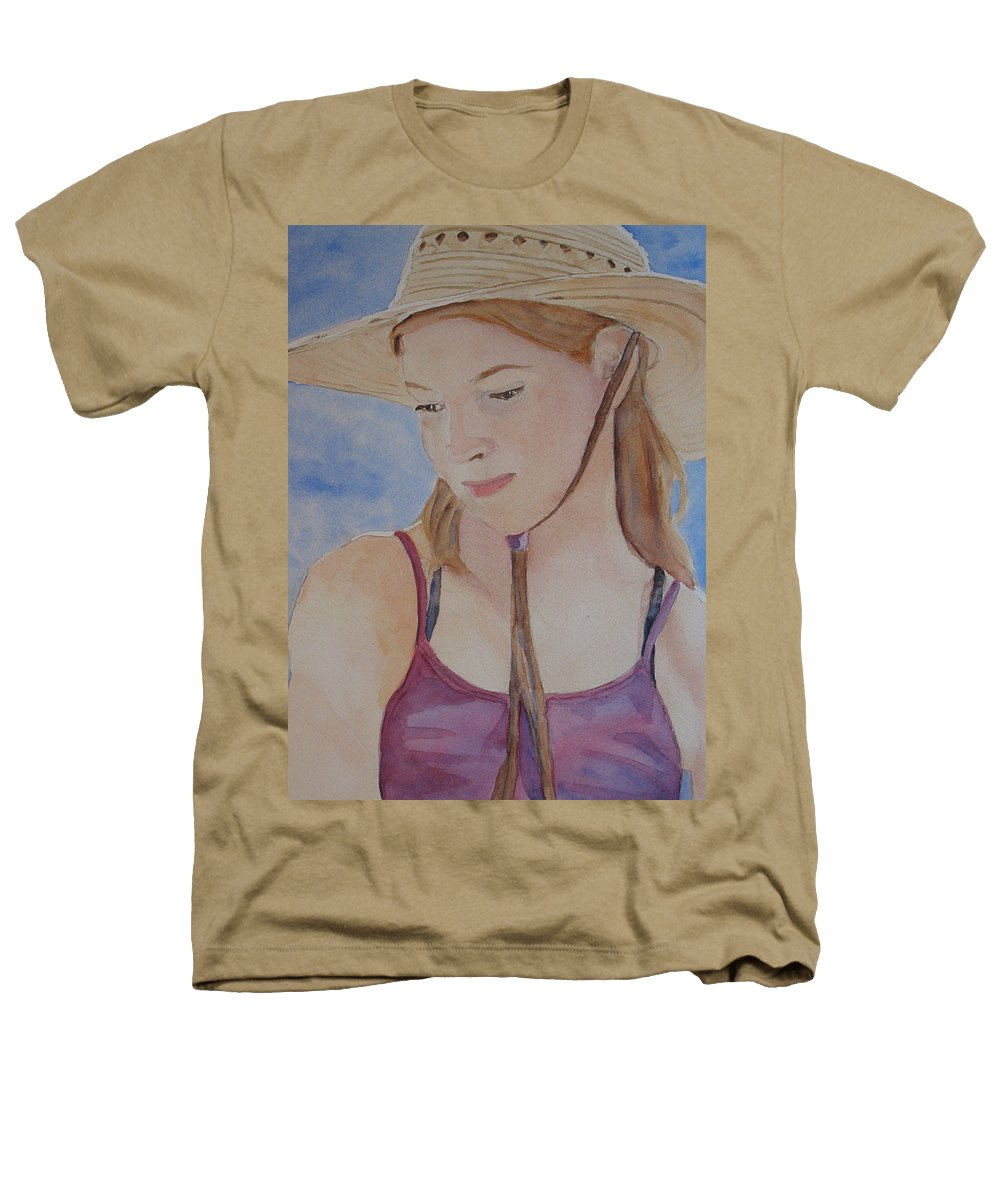 Girl Heathers T-Shirt featuring the painting Hat And Shoulders by Jenny Armitage