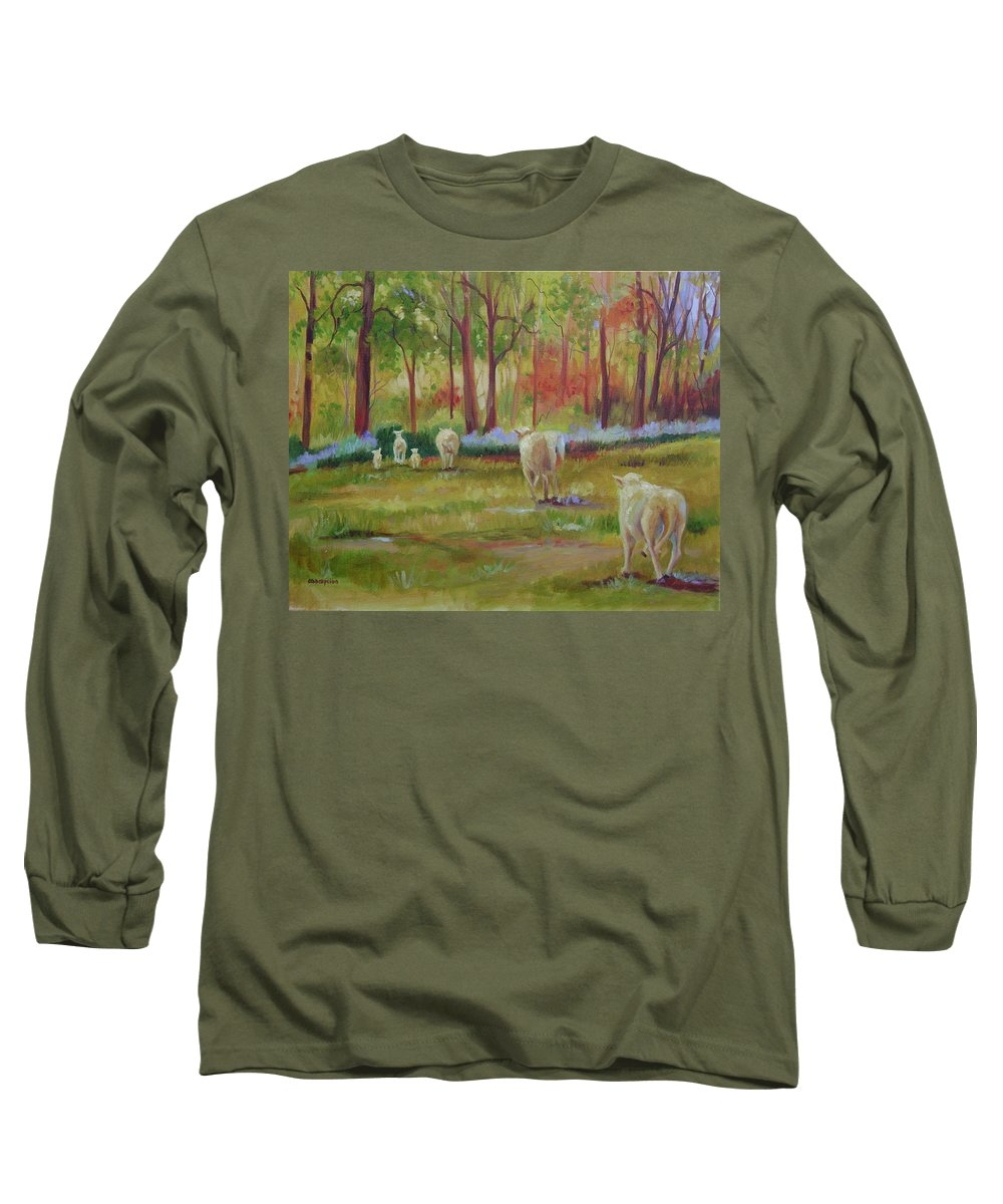 Sheep Long Sleeve T-Shirt featuring the painting Sheeple by Ginger Concepcion
