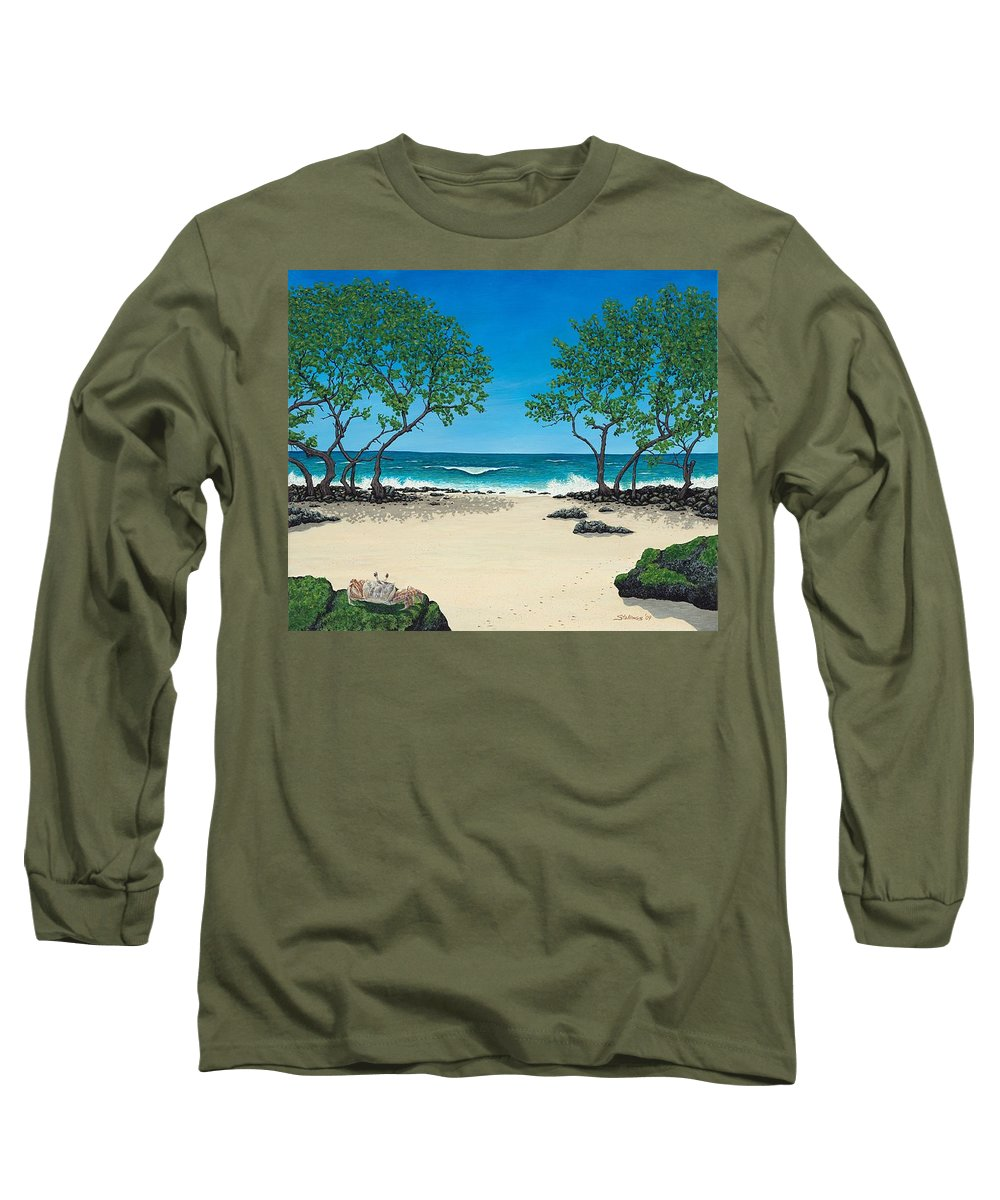 Ocean Long Sleeve T-Shirt featuring the painting Where Is My Corona by Shawn Stallings