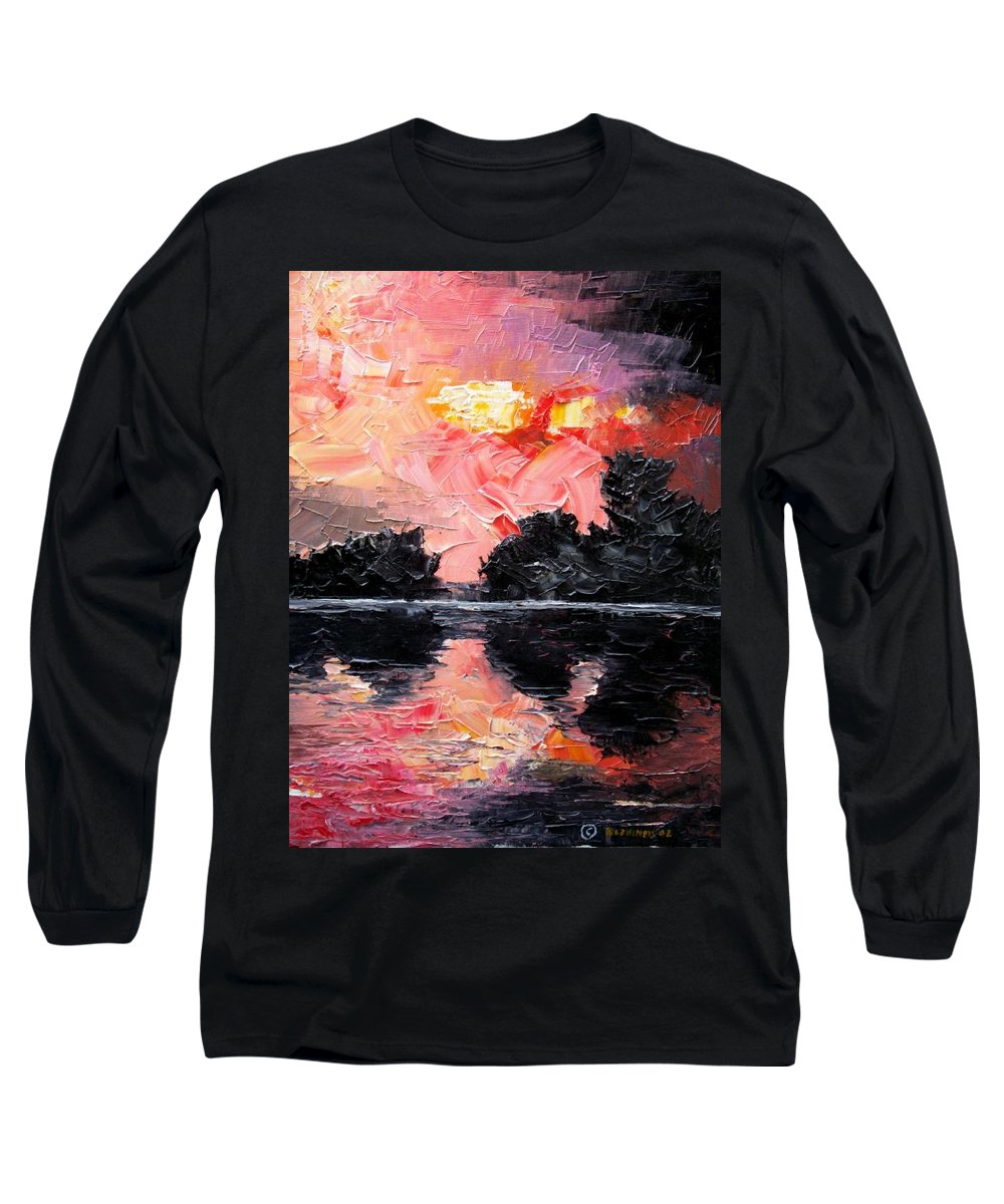 Lake After Storm Long Sleeve T-Shirt featuring the painting Sunset. After Storm. by Sergey Bezhinets