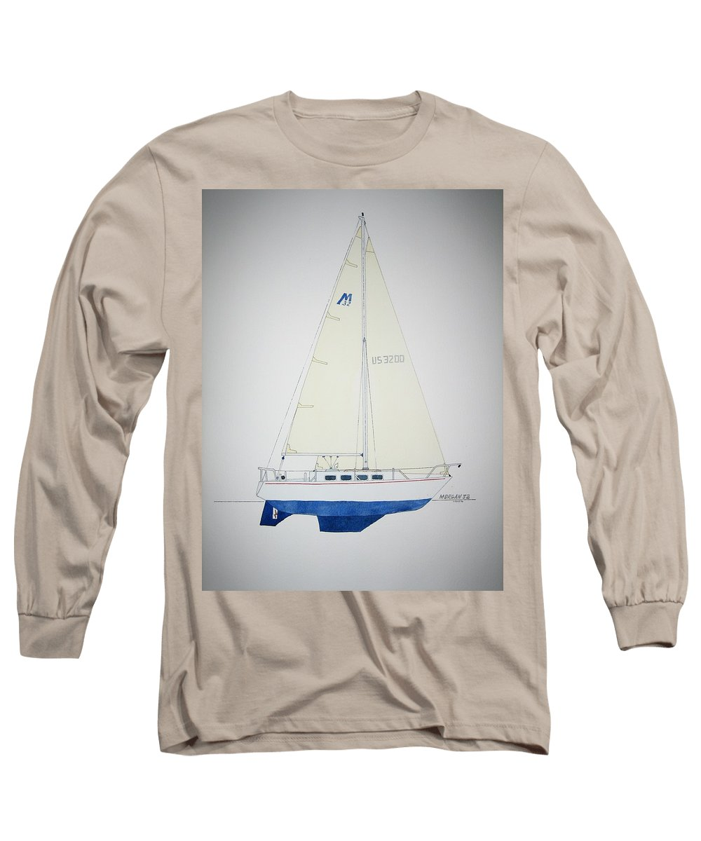 Sail Sailboat Ocean Sea Morgan Boat Nautical Yacht Long Sleeve T-Shirt featuring the painting Morgan 32 by Jeff Lucas