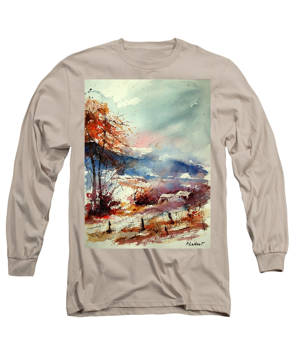 Winter Long Sleeve T-Shirt featuring the painting Watercolor 221108 by Pol Ledent