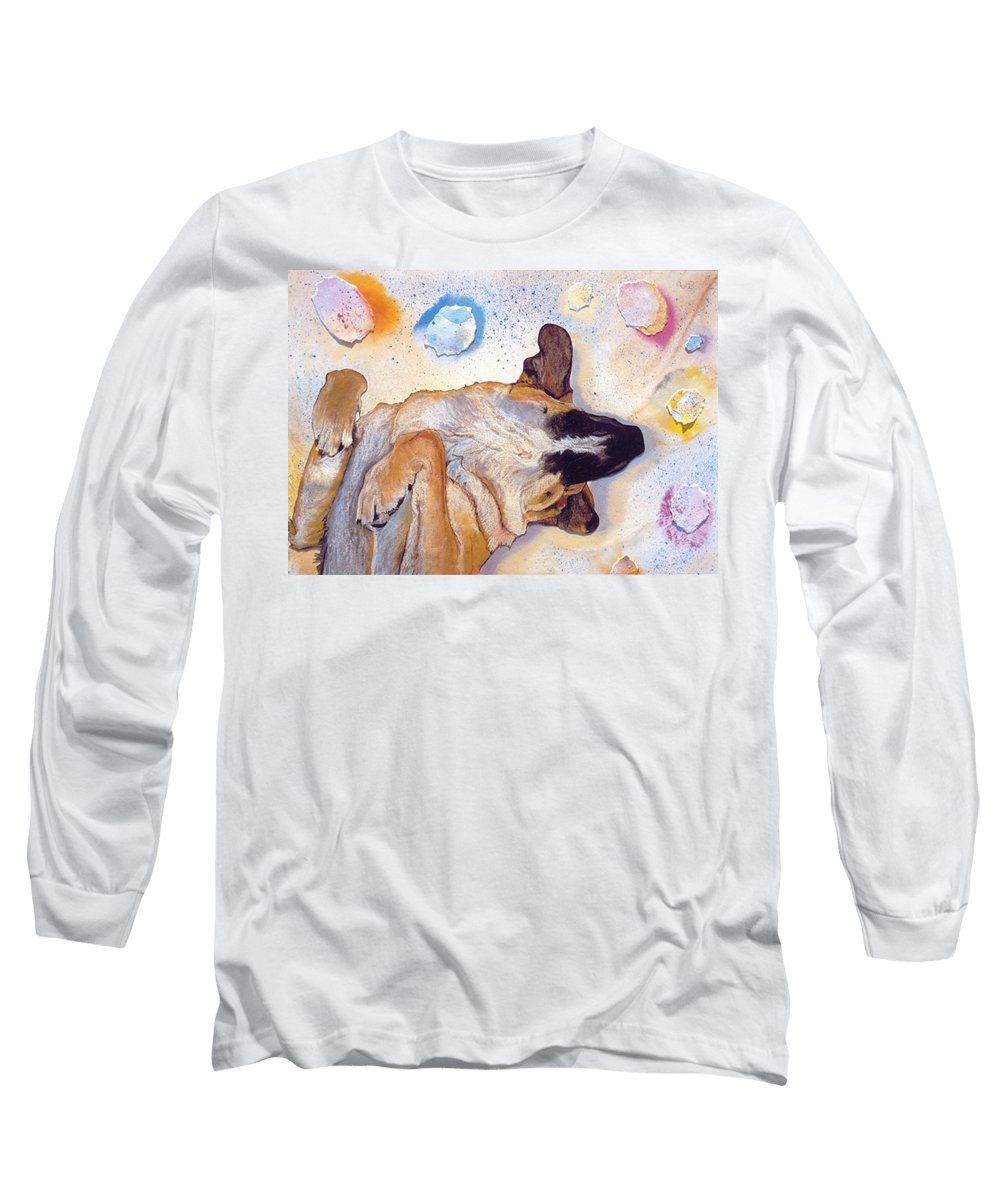 Sleeping Dog Long Sleeve T-Shirt featuring the painting Dog Dreams by Pat Saunders-White