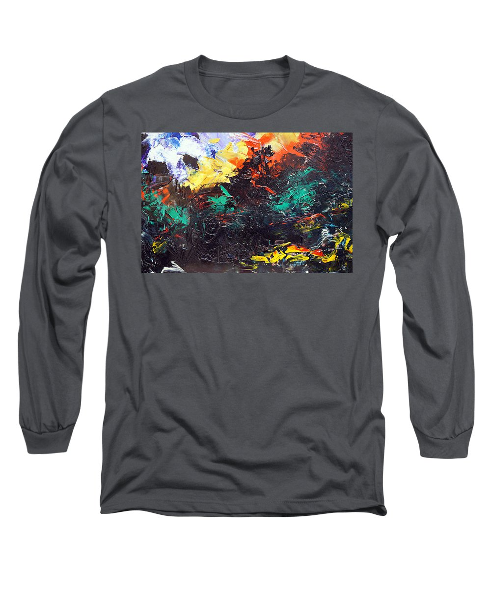 Vision Long Sleeve T-Shirt featuring the painting Schizophrenia by Sergey Bezhinets
