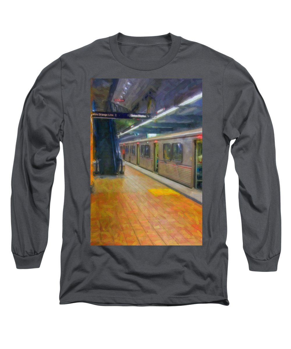 Metro Red Line - Hollywood - Vine Subway Station - Los Angeles Long Sleeve T-Shirt featuring the photograph Hollywood Subway Station by David Zanzinger