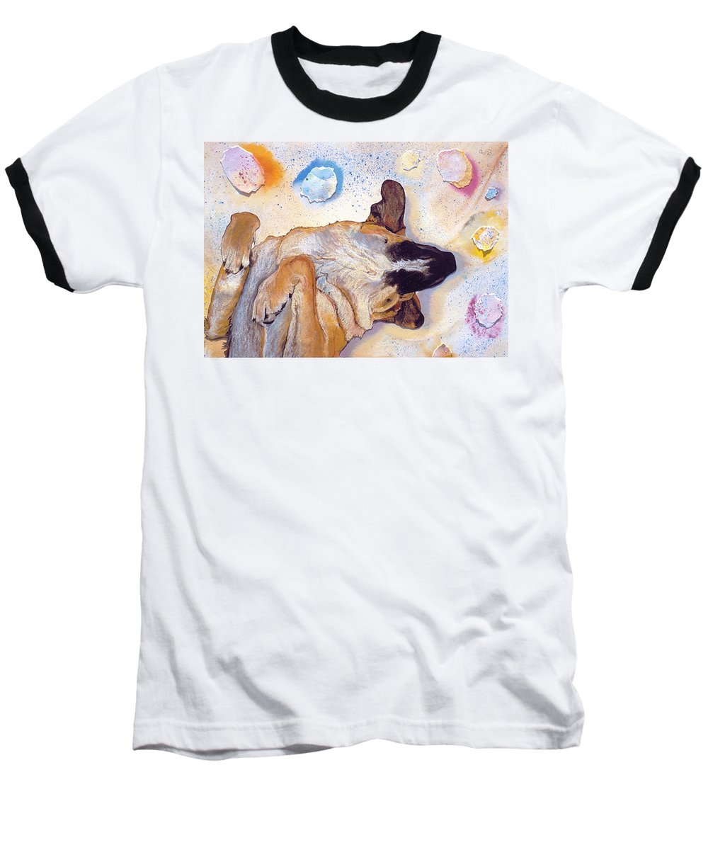 Sleeping Dog Baseball T-Shirt featuring the painting Dog Dreams by Pat Saunders-White