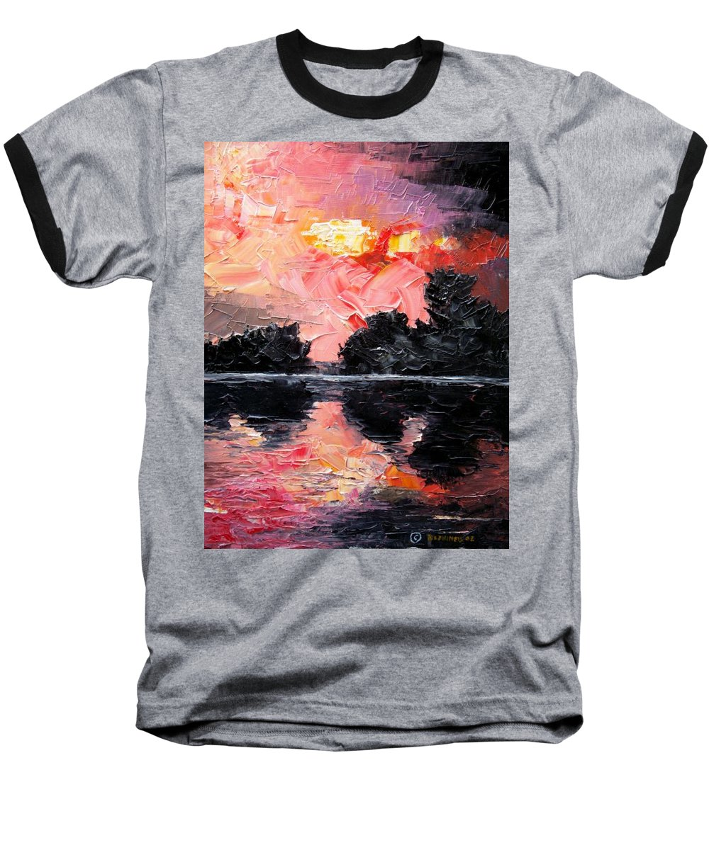 Lake After Storm Baseball T-Shirt featuring the painting Sunset. After Storm. by Sergey Bezhinets