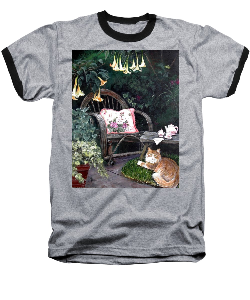 Charity Baseball T-Shirt featuring the painting My Secret Garden by Mary-Lee Sanders