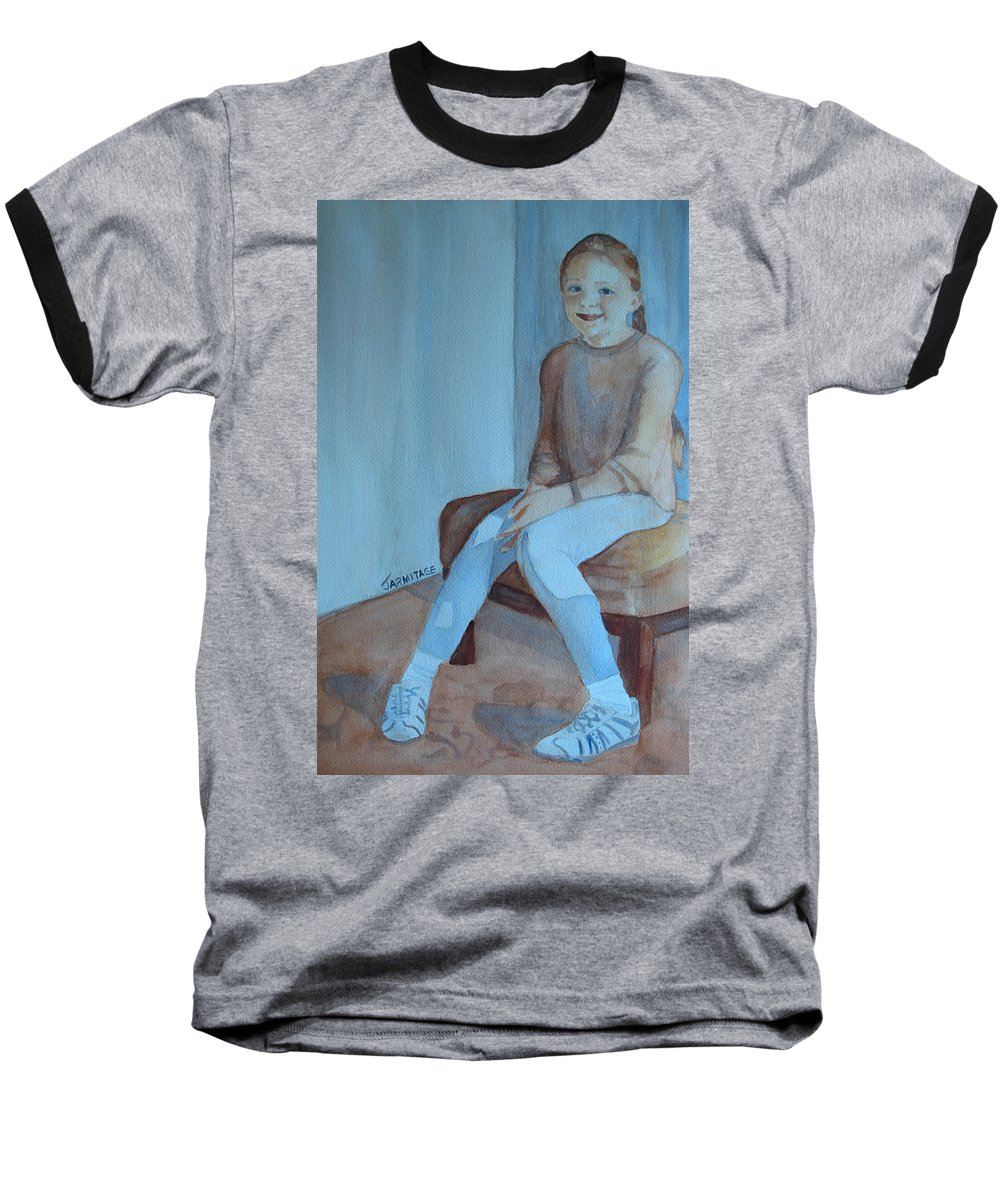 Girl Baseball T-Shirt featuring the painting Sneakers II by Jenny Armitage