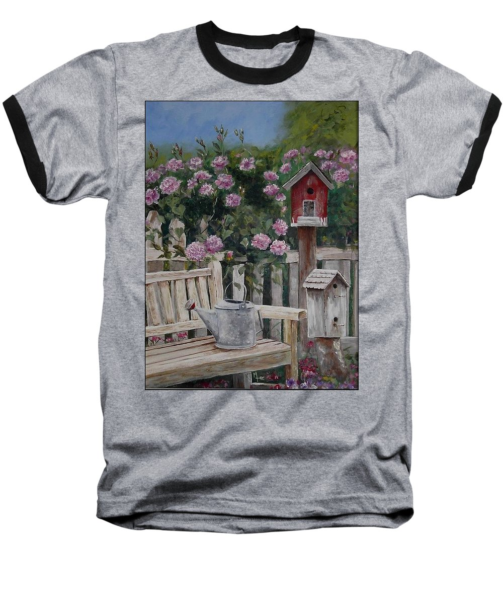 Charity Baseball T-Shirt featuring the painting Take A Seat by Mary-Lee Sanders