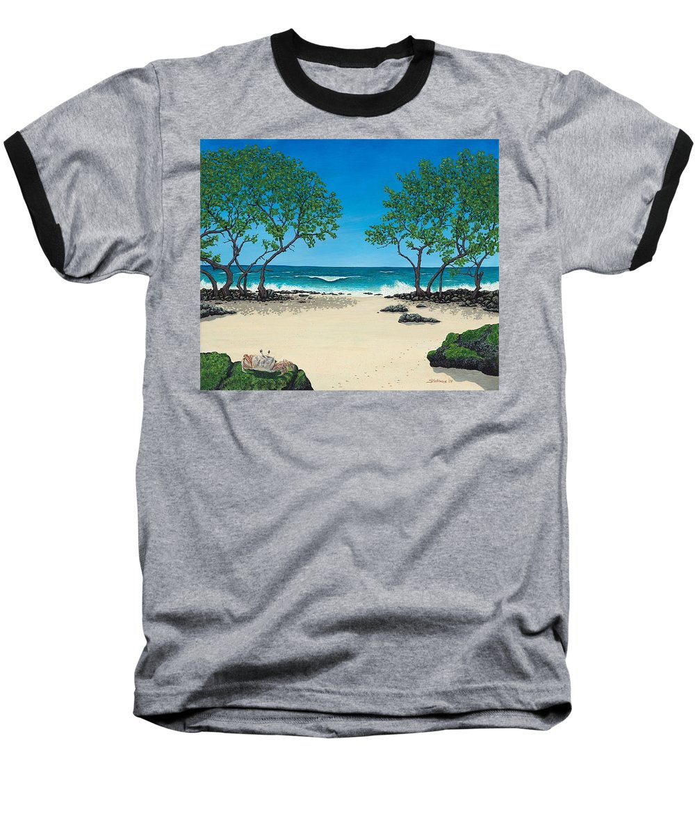 Ocean Baseball T-Shirt featuring the painting Where Is My Corona by Shawn Stallings