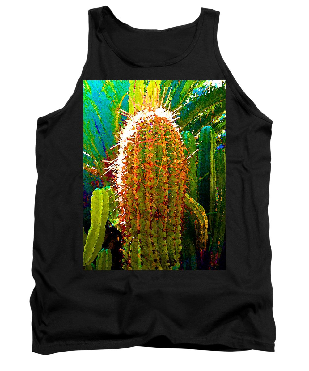 Succulent Tank Top featuring the painting Backlit Cactus by Amy Vangsgard