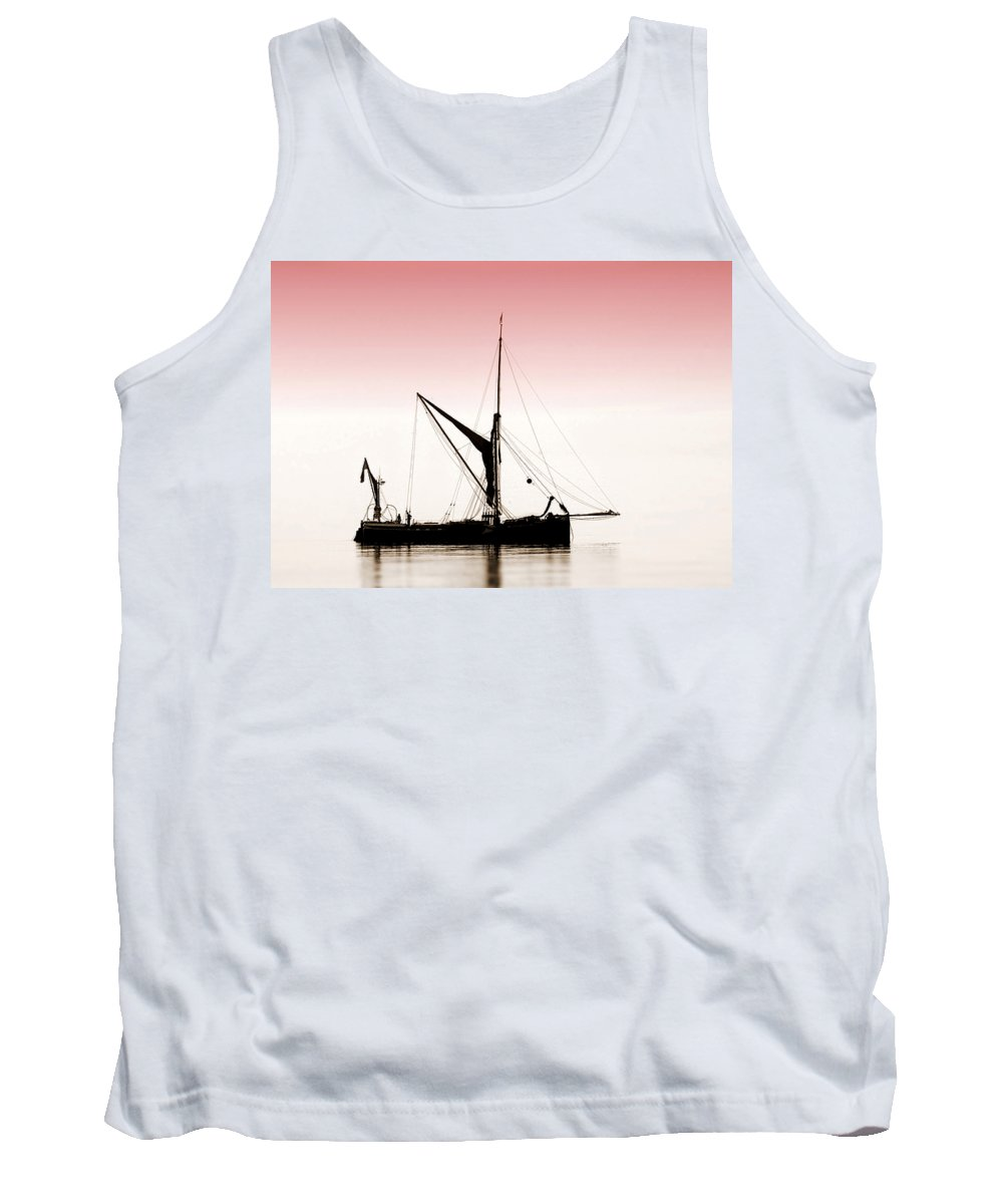 Boat Tank Top featuring the photograph Coble Sailing Against Pint Sky by Cliff Norton