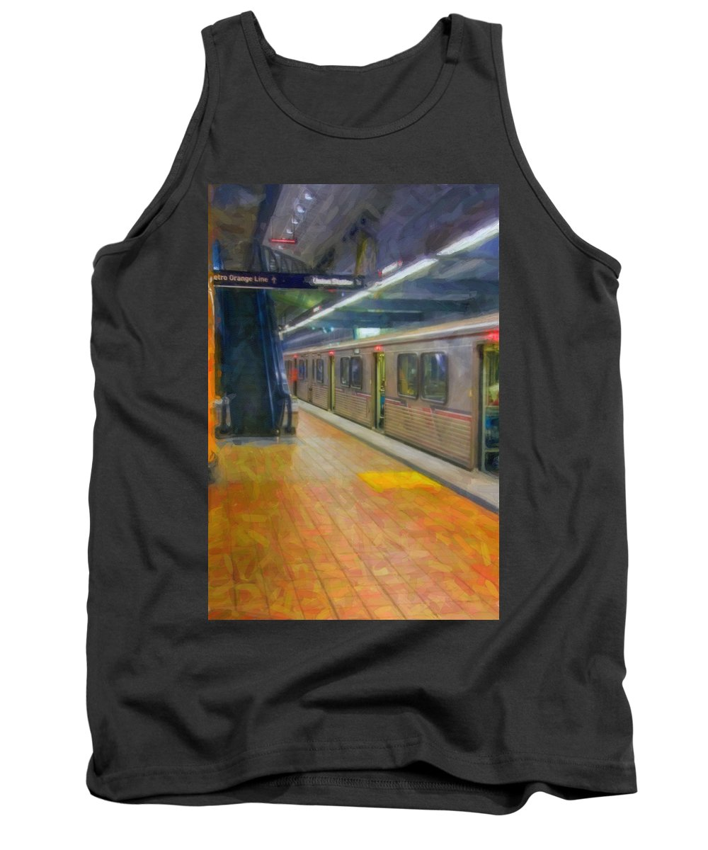 Metro Red Line - Hollywood - Vine Subway Station - Los Angeles Tank Top featuring the photograph Hollywood Subway Station by David Zanzinger