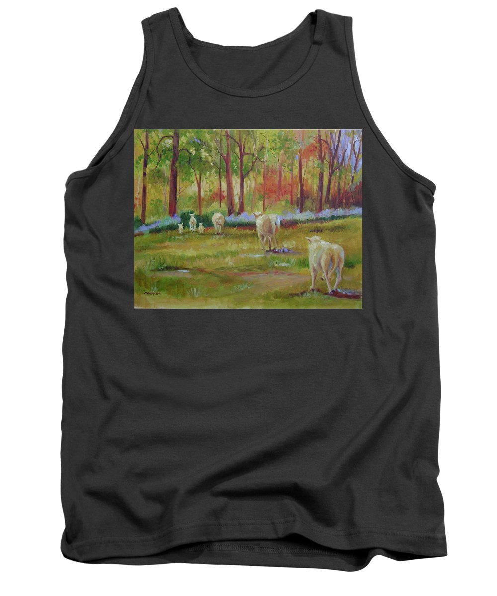 Sheep Tank Top featuring the painting Sheeple by Ginger Concepcion