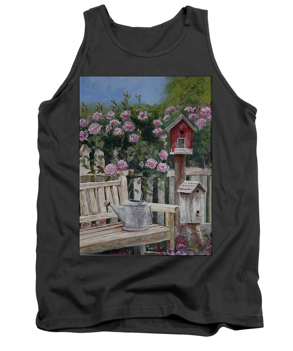 Charity Tank Top featuring the painting Take A Seat by Mary-Lee Sanders