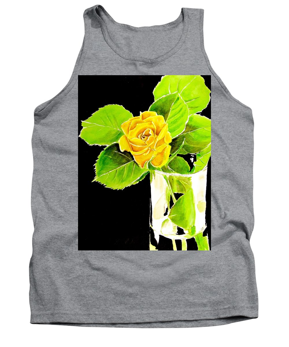 Yellow Rose Tank Top featuring the painting Rose In Vase by Carol Blackhurst