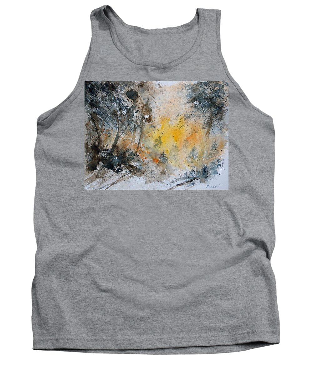 Tree Tank Top featuring the painting Watercolor 131206 by Pol Ledent