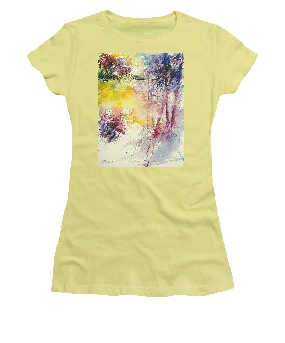 River Women's T-Shirt (Athletic Fit) featuring the painting Watercolor 007 by Pol Ledent