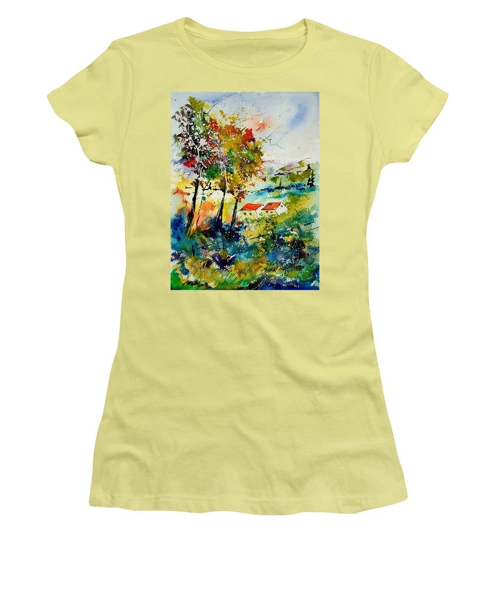 Poppies Women's T-Shirt (Athletic Fit) featuring the painting Watercolor 903001 by Pol Ledent