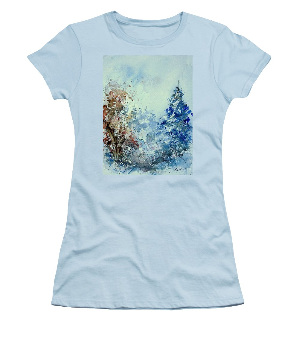 Tree Women's T-Shirt (Athletic Fit) featuring the painting Watercolor 010307 by Pol Ledent