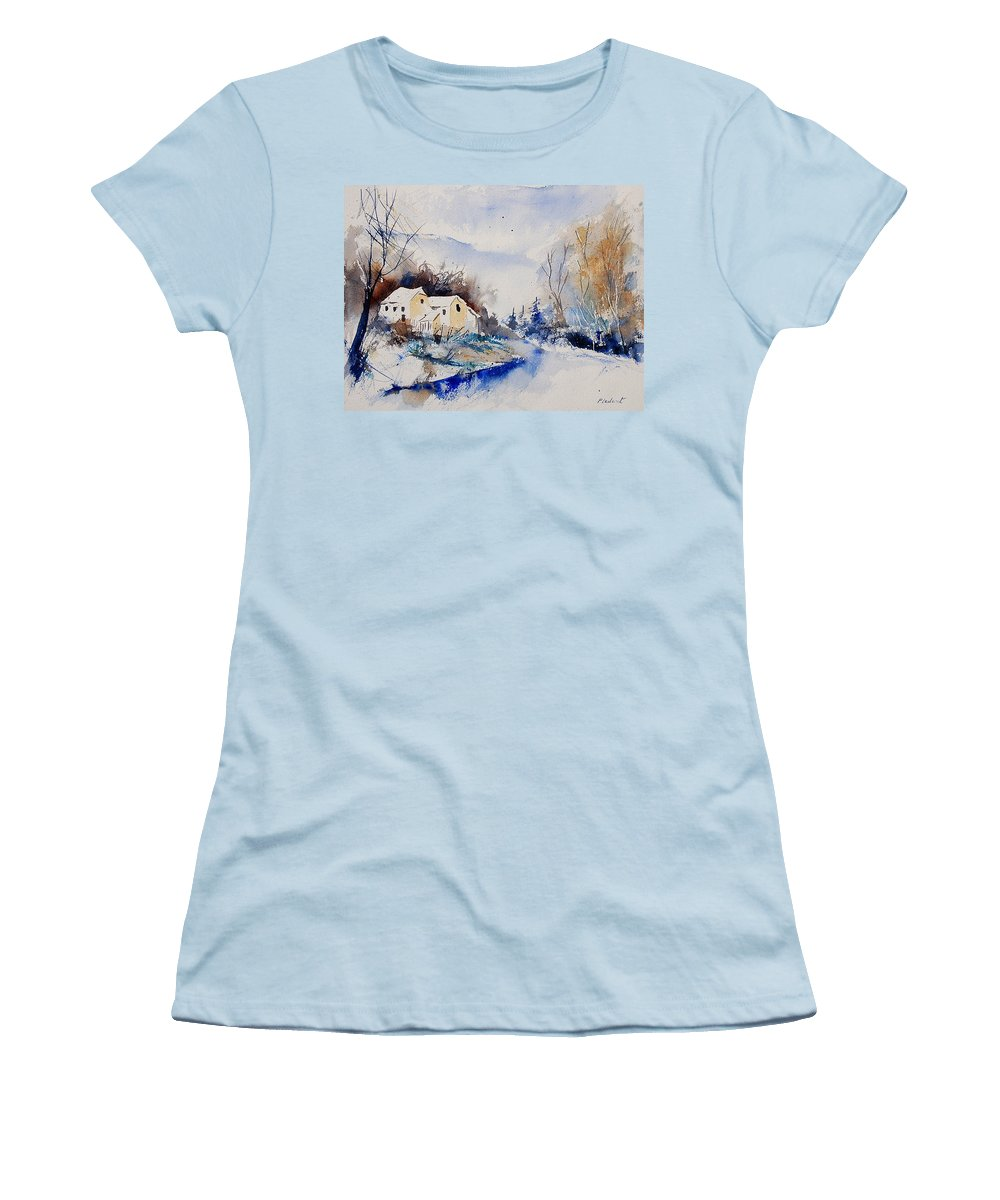 Winter Women's T-Shirt (Athletic Fit) featuring the painting Watercolor 080408 by Pol Ledent