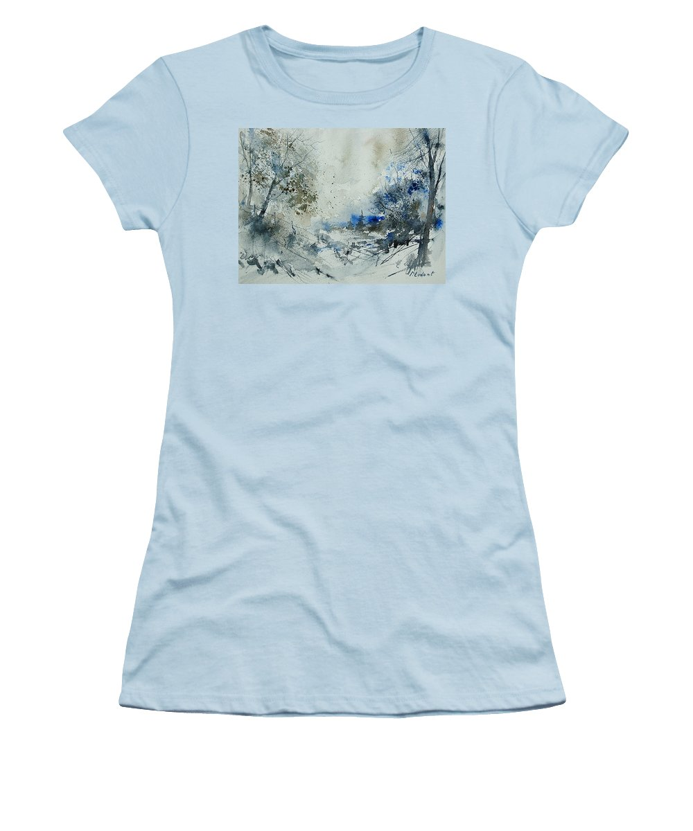 Winter Women's T-Shirt (Athletic Fit) featuring the painting Watercolor 210307 by Pol Ledent