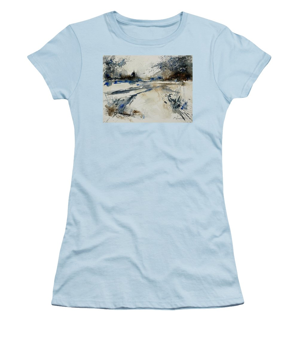 Winter Women's T-Shirt (Athletic Fit) featuring the painting Watercolor 240906 by Pol Ledent
