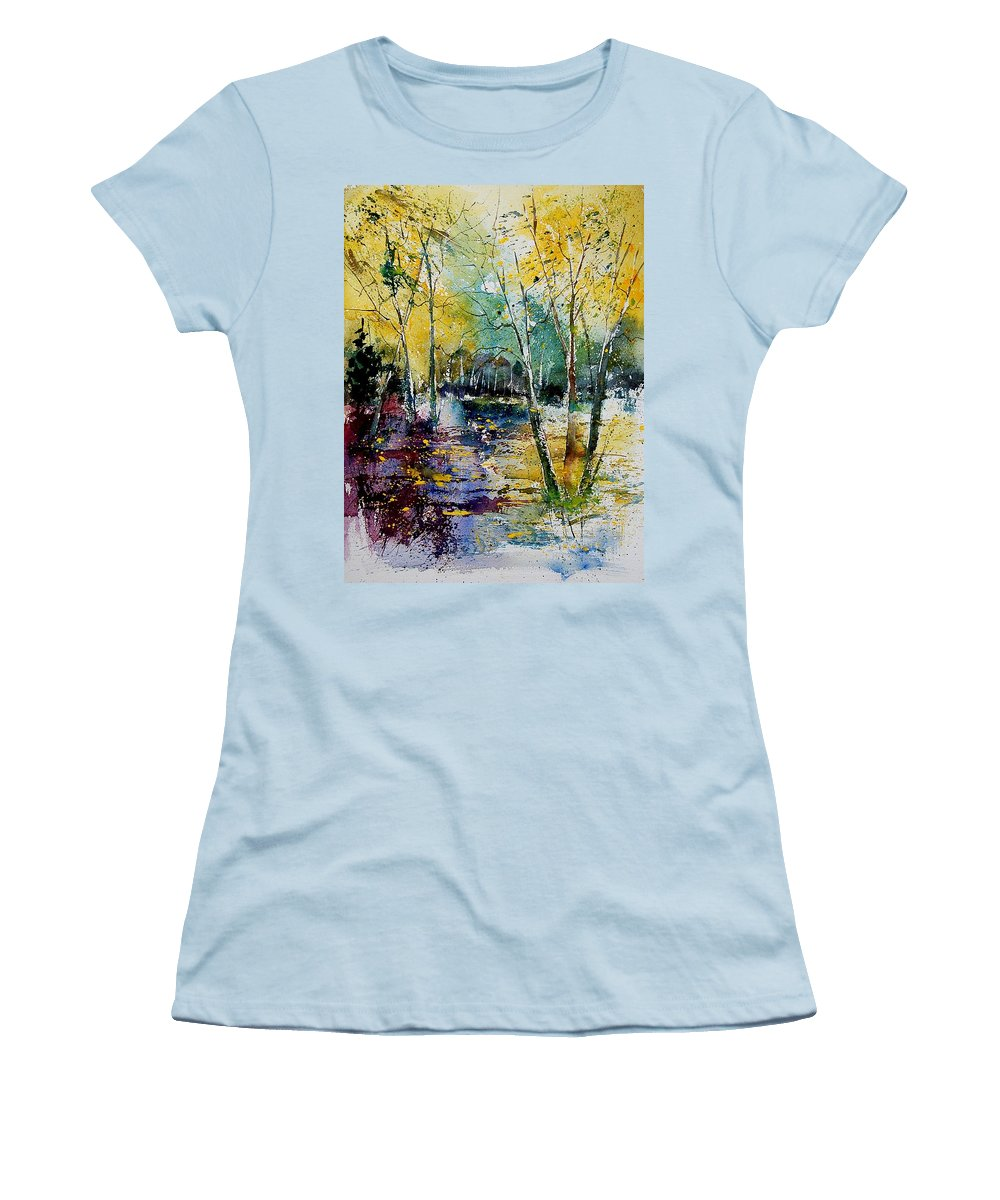 Water Women's T-Shirt (Athletic Fit) featuring the painting Watercolor 280808 by Pol Ledent