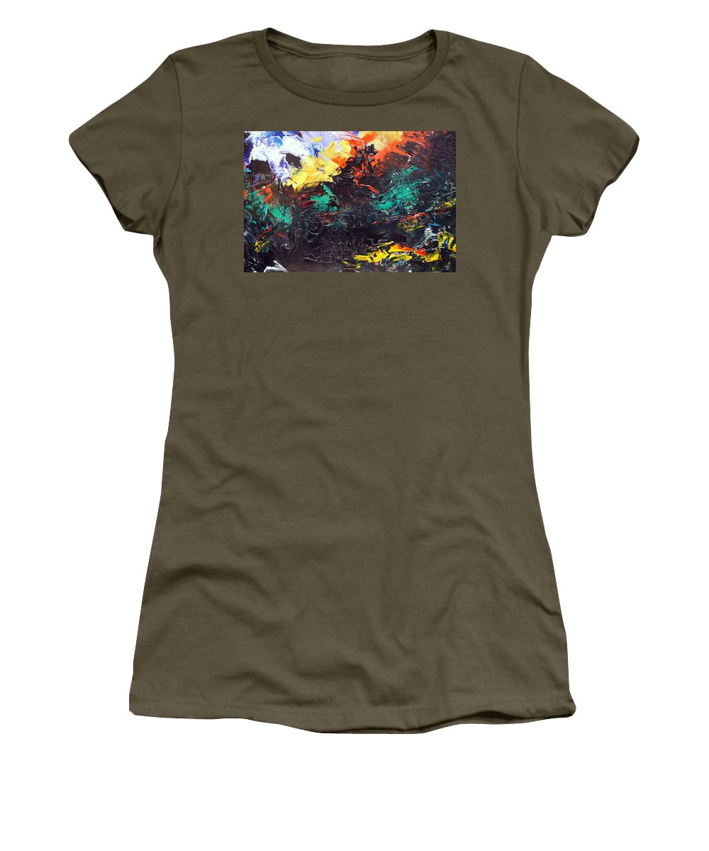 Vision Women's T-Shirt featuring the painting Schizophrenia by Sergey Bezhinets
