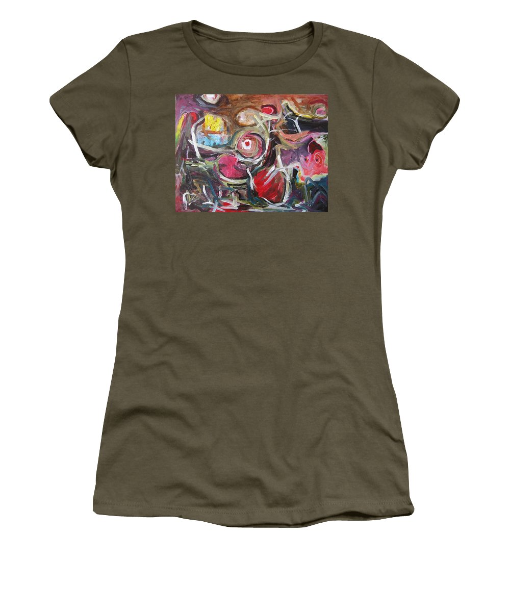 Abstract Paintings Women's T-Shirt featuring the painting Abandoned Ideas3 by Seon-Jeong Kim