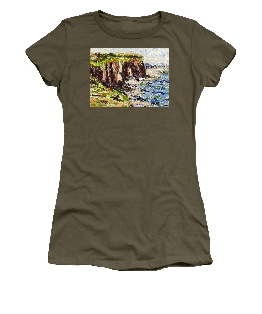 Abstract Paintings Women's T-Shirt (Athletic Fit) featuring the painting Cliff by Seon-Jeong Kim