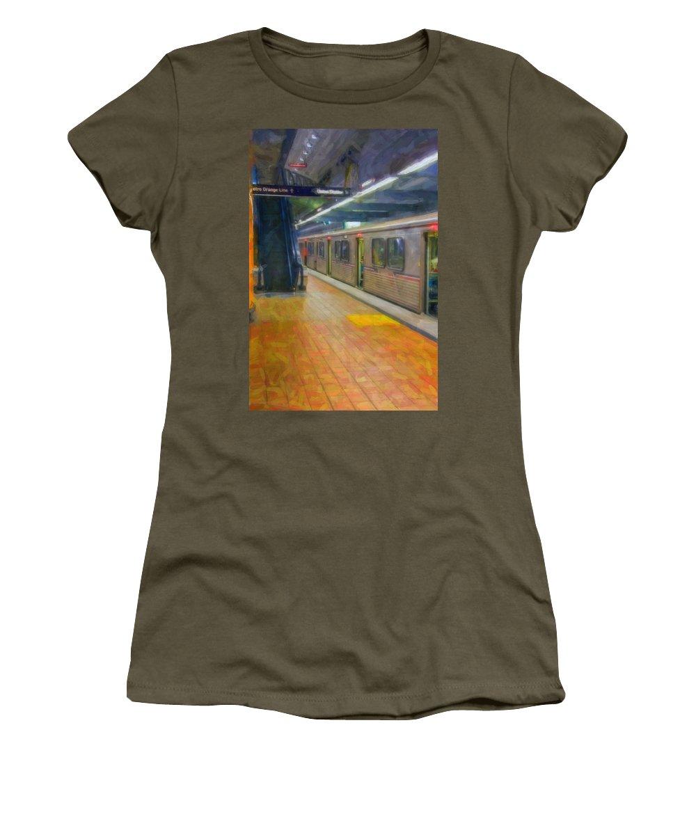 Metro Red Line - Hollywood - Vine Subway Station - Los Angeles Women's T-Shirt (Athletic Fit) featuring the photograph Hollywood Subway Station by David Zanzinger
