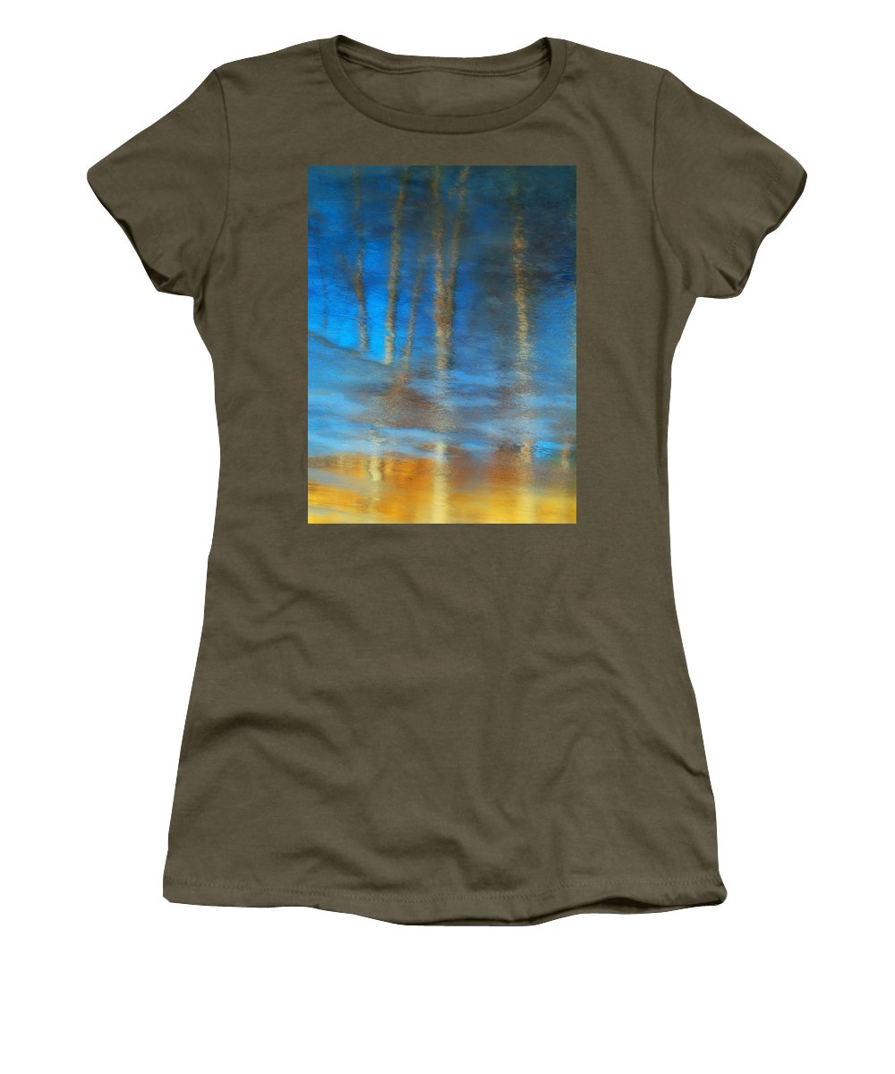 Ice Women's T-Shirt featuring the photograph Ice Reflections by Tara Turner