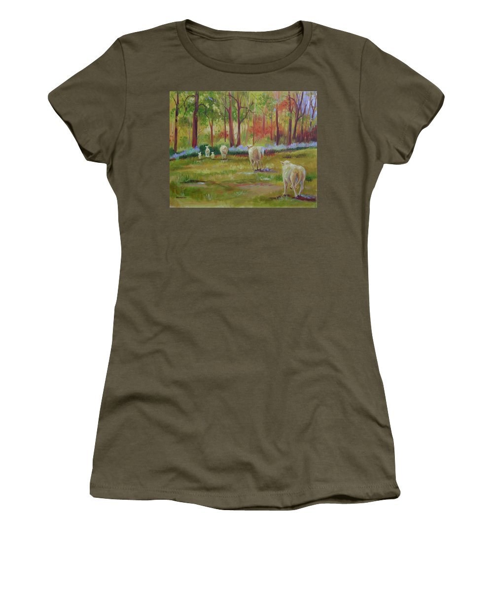 Sheep Women's T-Shirt (Athletic Fit) featuring the painting Sheeple by Ginger Concepcion